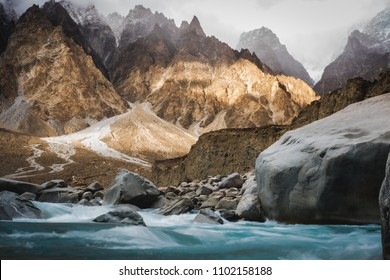 Himalaya valley  river view in Pakistan. The magic land for tourism who like trekking.