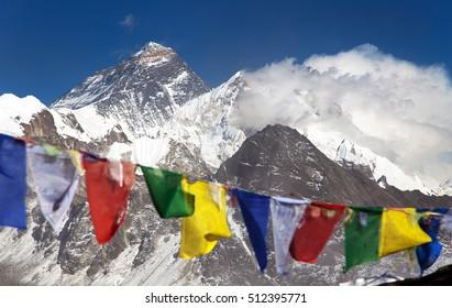 himalaya view of himalayas mountains and  Mount Everest, Lhotse and Makalu with buddhist prayer flags from Gokyo Ri - Nepal