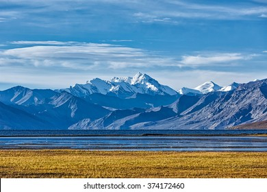 Himalayan lake Tso Moriri with mountain peaks of Himalayas. Korzok,  Changthang area, Ladakh, Jammu and Kashmir, India