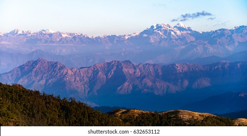 Himalayan mountain range seen from Sandakphu, Darjeeling, India