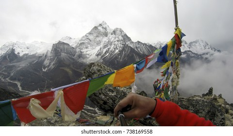 Himalayan mountain view from Chhukung RI peak, on route to Everest Base Camp, Nepal. The Himalayas range has many of the highest peaks on Earth, including the highest Mount Everest.