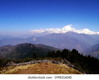 the himalayan mountaina view from the tower at poonhill,nepal.