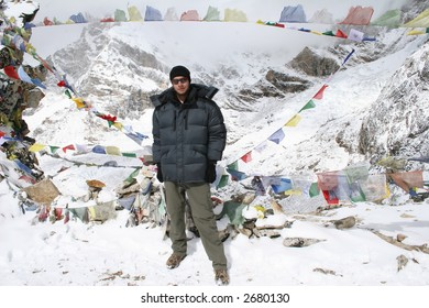 Himalayan Mountaineer at the summit if Kala Patthar near Gorak Shep, Nepal.