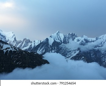 himalayan  moutains at annapurna base camp