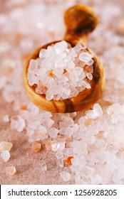 Himalayan Pink Crystal Rock salt in wooden spoon