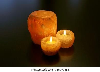 Himalayan salt candle holders