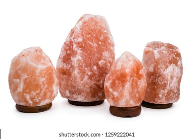 Himalayan salt lamps isolated on white background