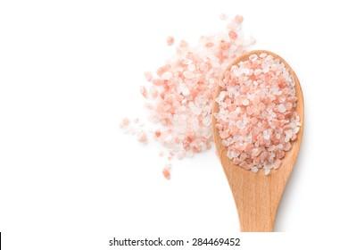 Himalayan salt in white background
