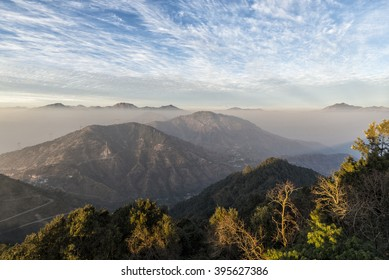 The Himalayas foothills. View from KunjaPuri Devi Temple atop a mountain 25 km from Rishikesh. It is one of the Shaktipeeths. The temple Kunjapuri is situated on the top of the hill 1,676 m. high