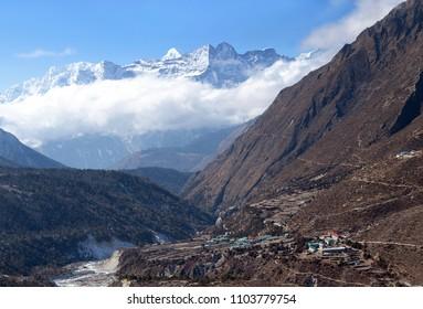 Himalayas mountain landscape and Pangboche village on the way to Everest base camp, Khumbu, Sagarmatha National Park, Nepal Himalaya
