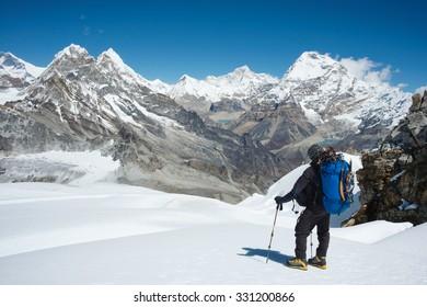 Himalayas mountain range from Mera Peak High Camp