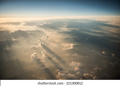 Himalayas mountains Everest range panorama aerial view