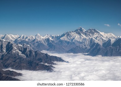 Himalayas ridge. Mount Everest aerial view from Nepal country side