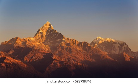 Himalayas at sunrise, Himalayan Moutains, View from Sarangkot, Pokhara, Nepal