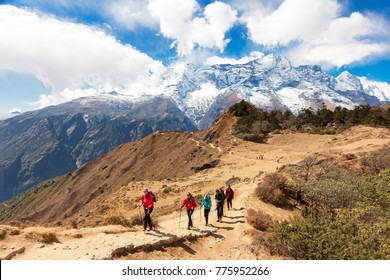 Himalayas,Nepal- cirka November, 2017: hikers on the way to Everest Base Camp, beautiful sunny weather and spectacular views