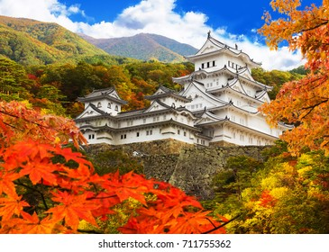 Himeji castle and autumn leaves , One of Japan's premier historic castles, Japan