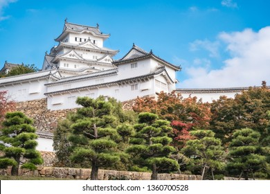 Himeji Castle is considered most beautiful castle in all Japan. The castle, shown here in autumn it is also known as White Egret or White Heron Castle due to its pristine white exterior architecture.