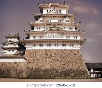 Himeji Castle is considered the prototypical Japanese castle, featuring many elements associated with feudal Japanese castle architecture. Located at the bottom of Himeji Mountain in Japan.
