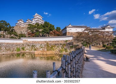 Himeji Castle at early of autumn, Himeji, Japan. The castle is regarded as the finest surviving example of Japanese castle architecture. It is a UNESCO World Heritage Site.