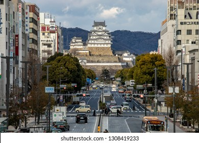 Himeji Castle, Himeji, Japan - 24 January 2019 : The Japanese most popular castle can view from the JR station.