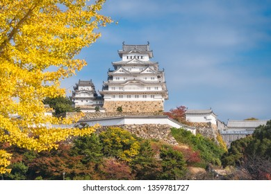 Himeji Castle situated in the Hyogo Prefecture of Japan, shown here in autumn, is also called the White Egret Castle because of its brilliant white exterior and resemblance with a bird taking flight.