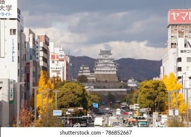 Himeji, JAPAN - December 1, 2017: Zoom Himeji castle from Jr Himeji station.The Castle is a World Heritage Site.