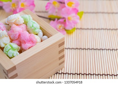 Hina arare of traditional Japanese sweets