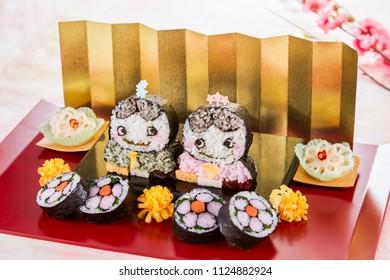 hina doll sushi, sushi roll decoration