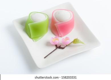 "Hinamatsuri (Girls' Day) seasonal ""wagashi"" sweets, stylized for man and woman in kimono"