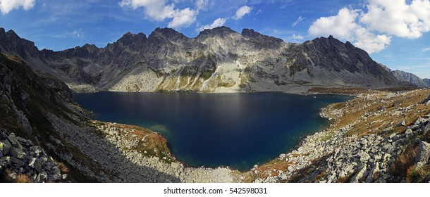 Hincovo pleso is the largest mountain lake on slovakian side of Vysoke Tatry mountain range. Touristic pathway along lake leads also to the summit of Koprovsky stit reaching 2363 m.
