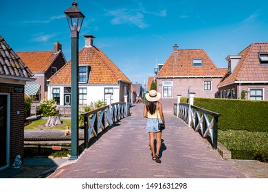Hindeloopen Friesland Netherlands August 2019, old village with  canals and historical buildings during summer on a bright day