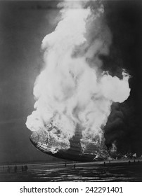 The Hindenburg hits the ground in flames in Lakehurst, N.J. on May 6, 1937.