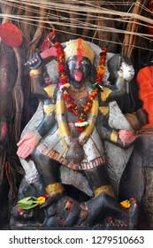 The Hindu altar with the deity of the Goddess Kali.