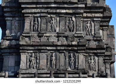 Hindu carvings on the Prambanan temples, UNESCO, near Yogyakarta, Java Island, Indonesia