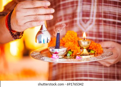 Hindu ceremony. Puja - offering to gods