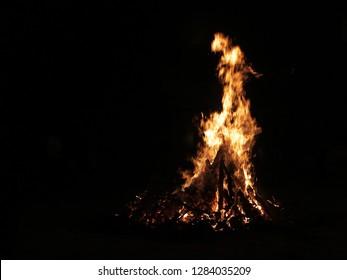 Hindu Festival Holika Dahan Fire Shot