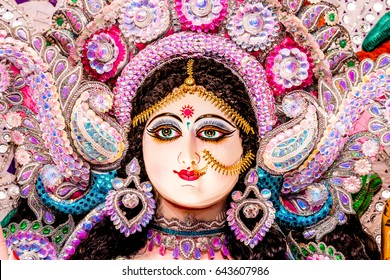 hindu festival navratri, closeup of devi maa durga idol