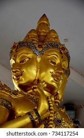 Hindu god Brahma gold  statue in Thailand,Sing Buri Province, Thailand
