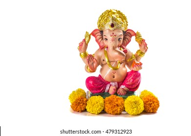 Hindu God Ganesha On White Background Images Stock Photos Vectors Shutterstock