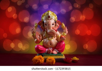 Hindu God Ganesha on Blured bokhe background, Ganesha Idol.