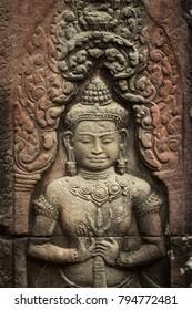 Hindu God Indra Beautiful carvings Background In Combodia