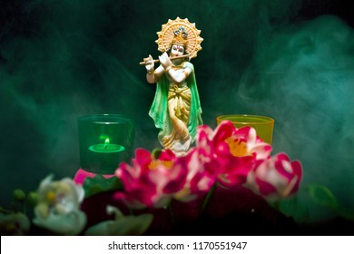 Hindu God Krishna Statue Smoke Lotus Stock Photo Edit Now
