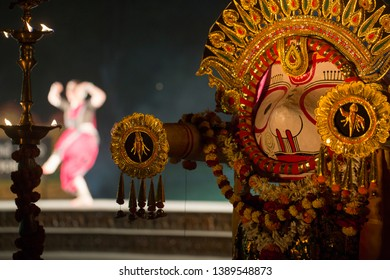 Hindu God Lord Balabhadra,A odissi dancer performing in background