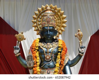 hindu god lord vishnu statue in the part of traditional decoration
