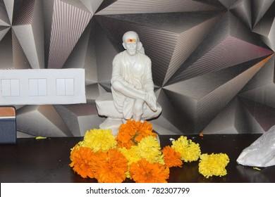 Hindu God Sai Baba Idol made of pure white marble