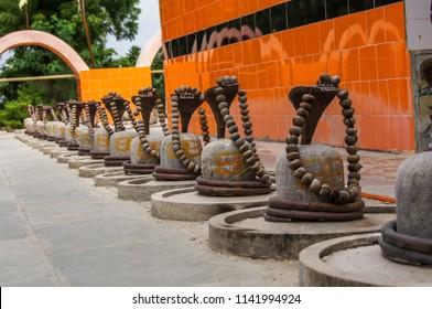 Hindu god Shiva's Shiv ling with decoration of Rudraksh.