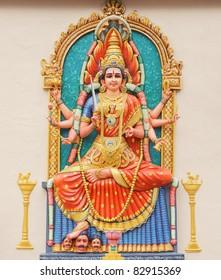 Hindu Goddess Durga direct frontal overall view.