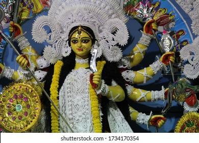 hindu goddess durga maa before offering puja
