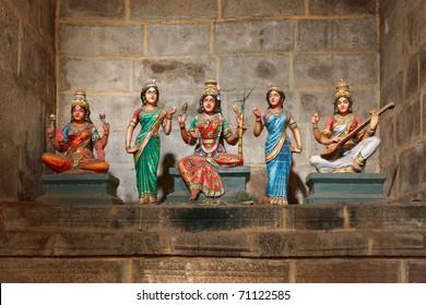 Hindu goddesses Parvati, Lashmi and Saraswati statues in Tock temple. Tiruchirappalli, Tamil Nadu, India