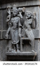 Hindu gods on the carved stone wall of historical Trimbakeshwar in India.